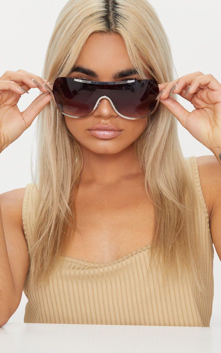 Silver Curve Flat Top Sunglasses 1
