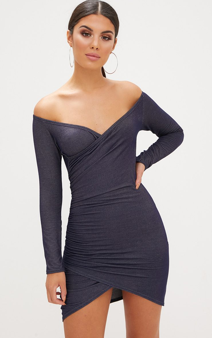 Blue Bardot Denim Look Ruched Front Bodycon Dress