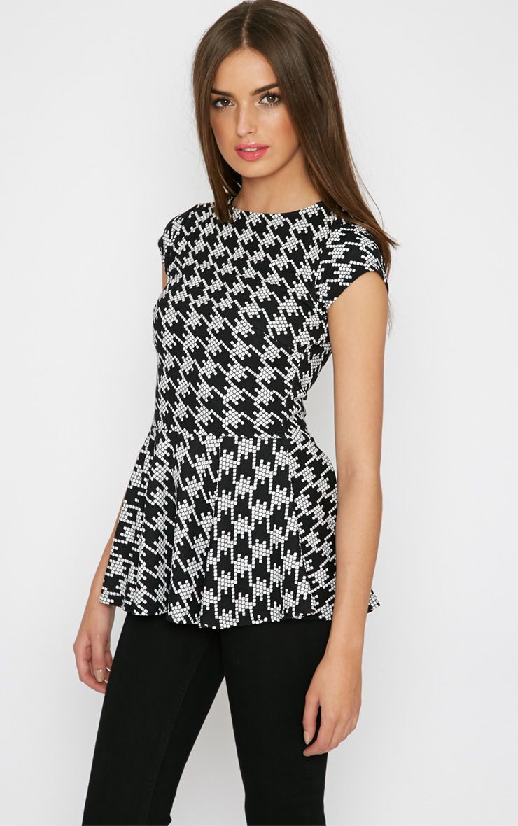 Madi Monochrome Dogtooth Peplum Top  1