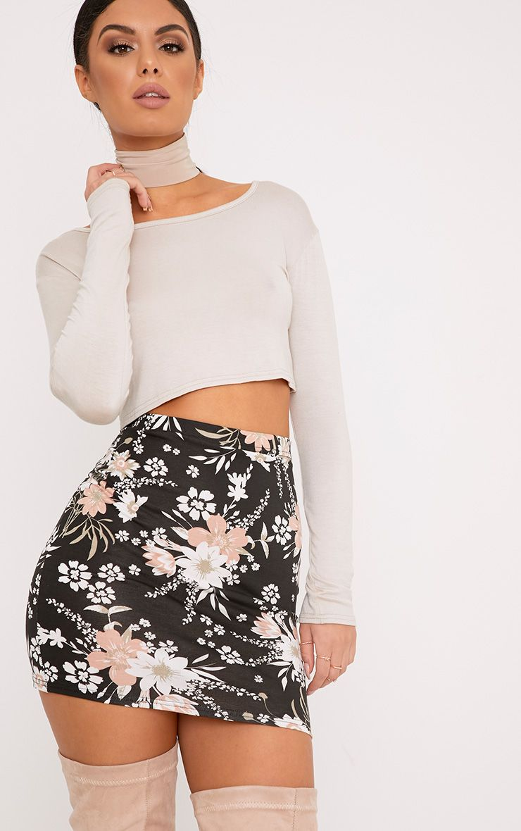 Donya Black Floral Print Mini Skirt