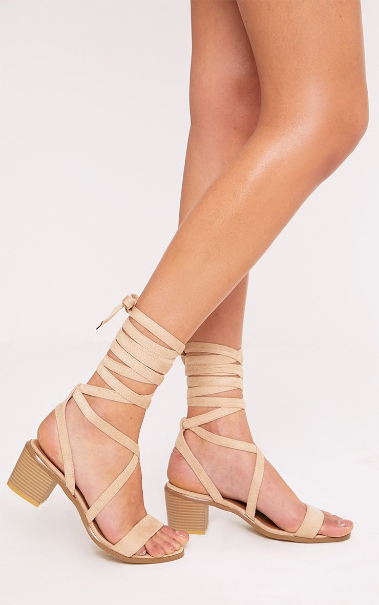 Kallia Cream Suede Lace Up Heeled Sandals