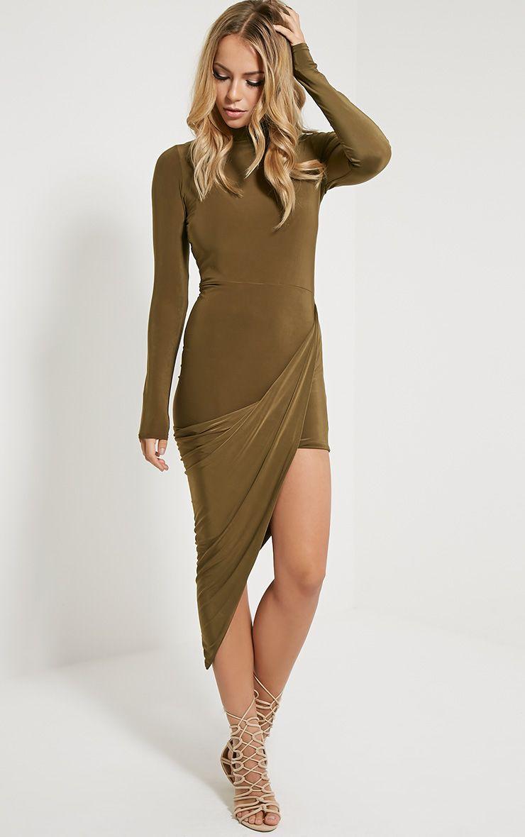 Saffy Khaki Long Sleeve Drape Dress 1