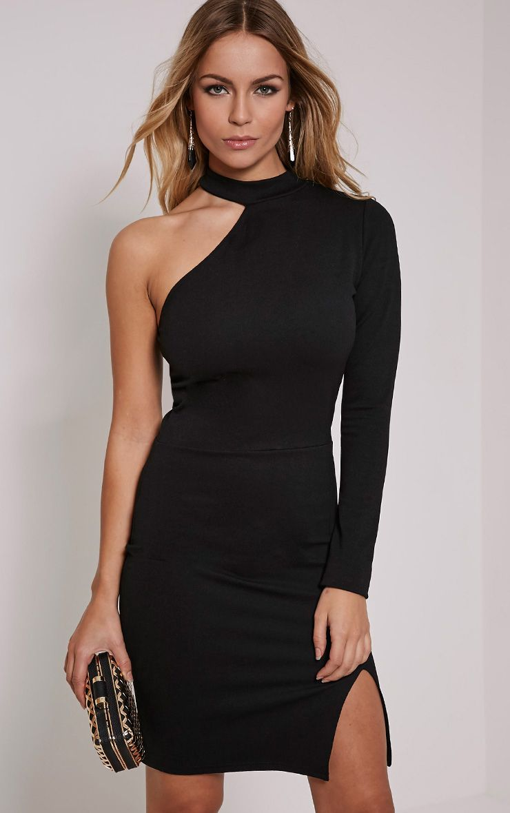 Anastasia Black Asymmetric Bodycon Dress Black