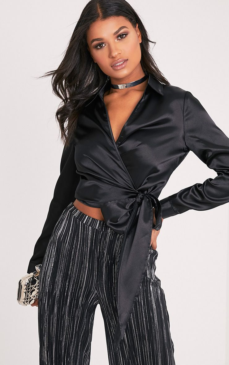 Alex Black Satin Wrap Cropped Blouse