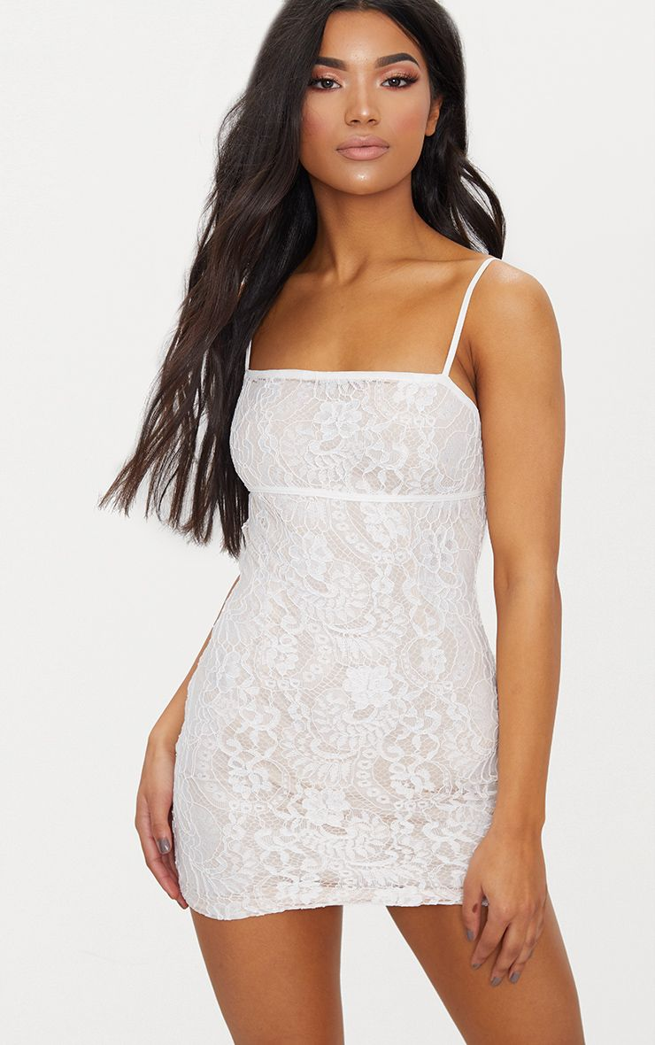 White Lace Contrast Piping Bodycon Dress