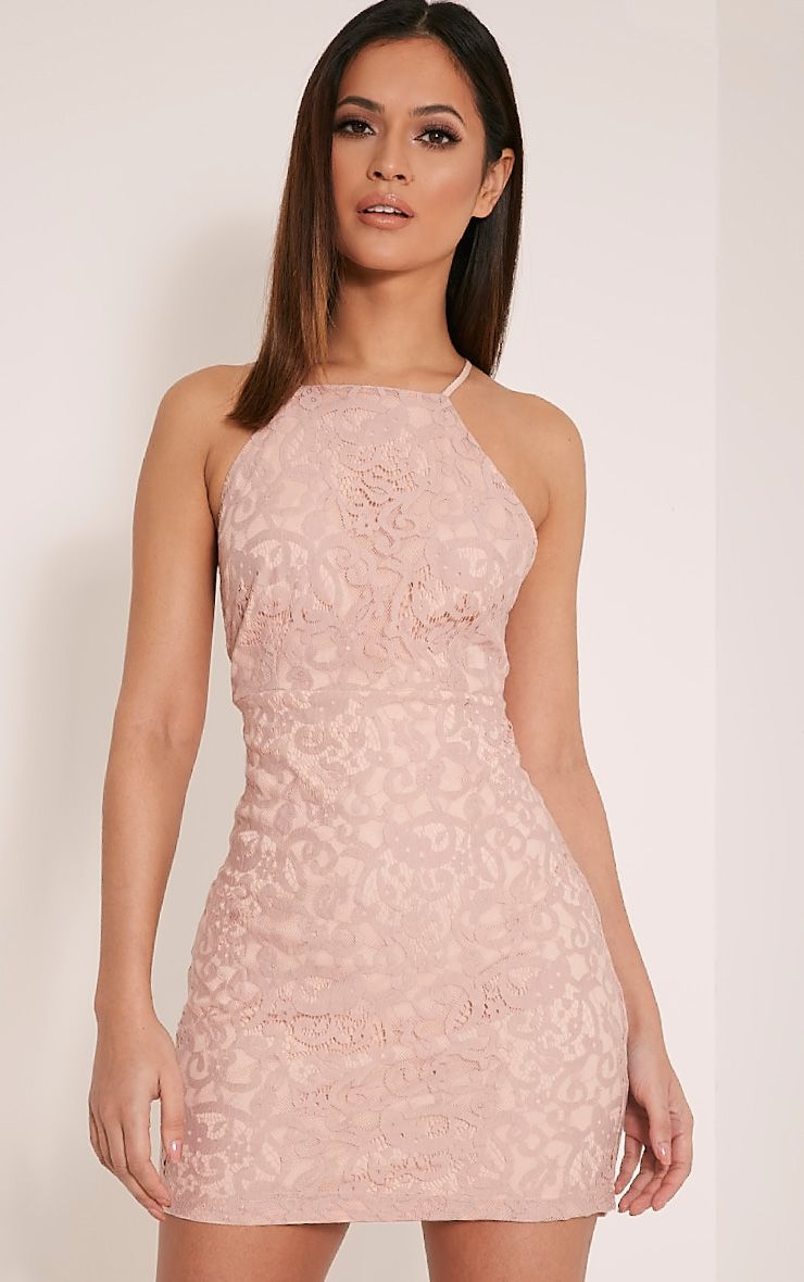 Elora Baby Pink Cross Back Lace Mini Dress 1