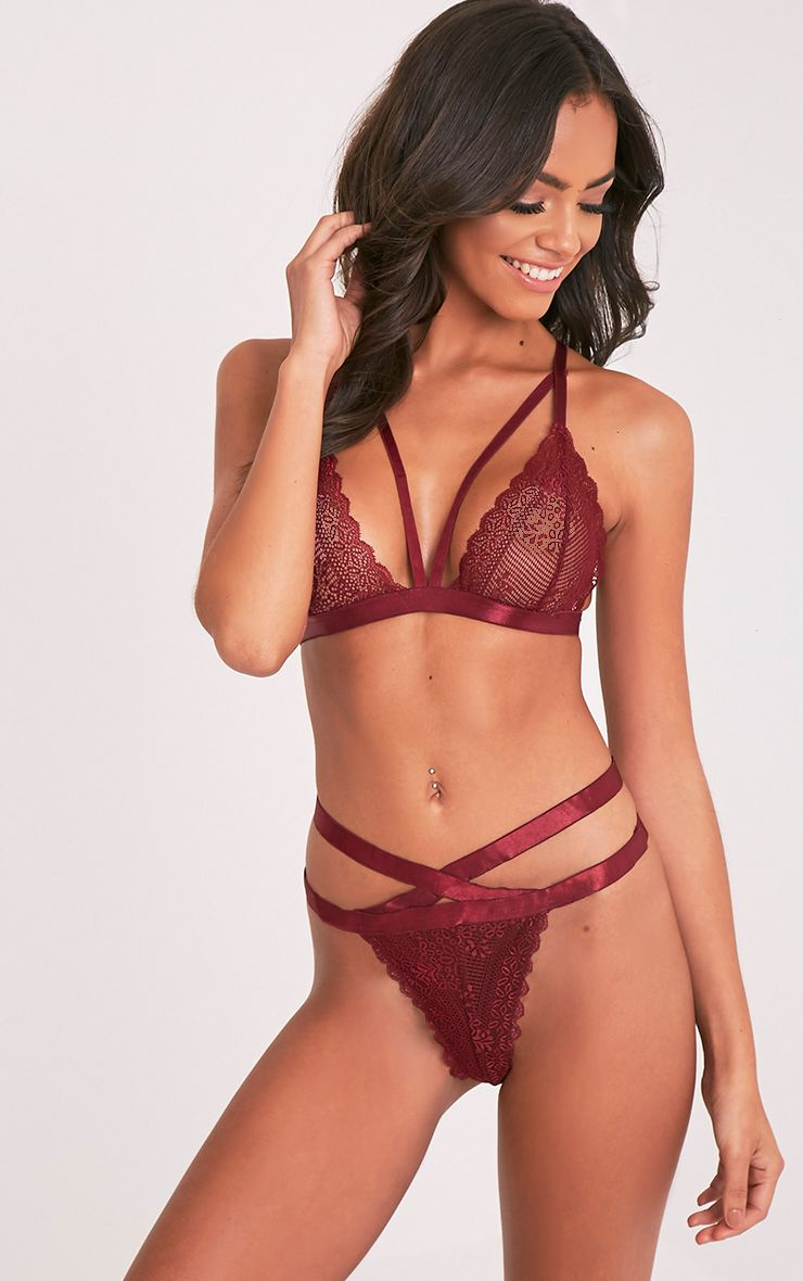 Gerrie Burgundy Lace Harness Thong Knicker