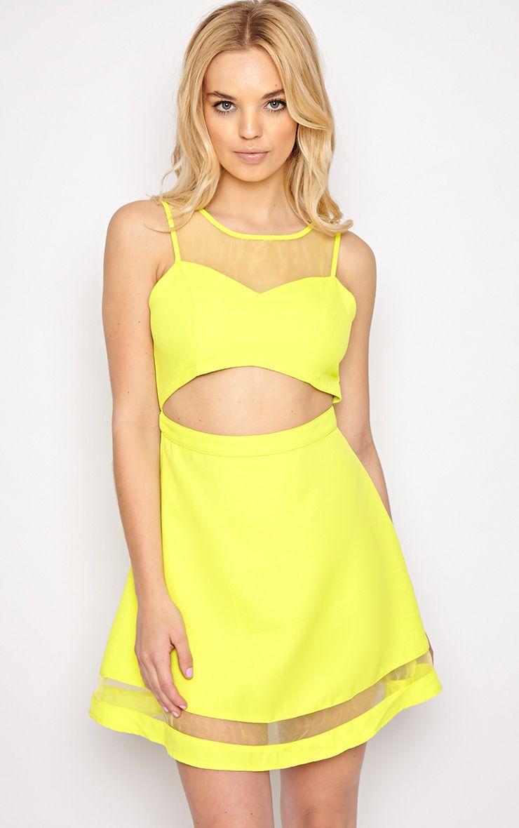 Holly Lime Mesh Skater Dress  1
