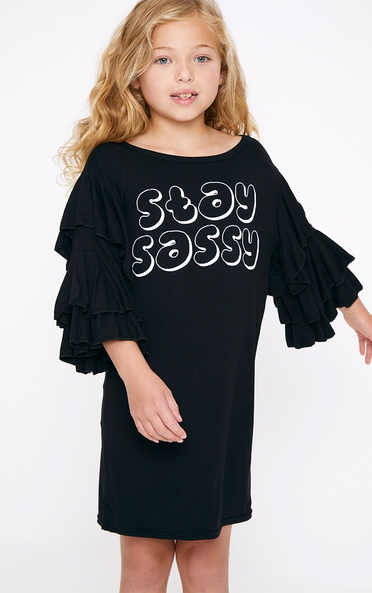 Stay Sassy Black Ruffle Sleeve T Shirt Dress
