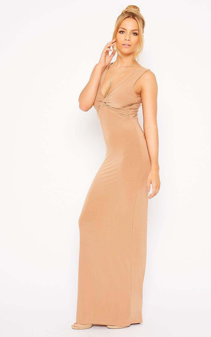Zena Camel Knot Front Slinky Maxi Dress 1