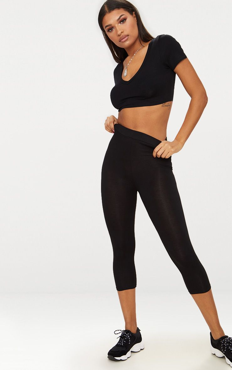 Basic Black Cropped Jersey Leggings