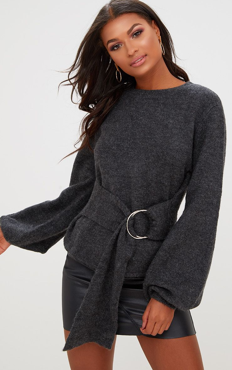Black Statement Belt Tie Jumper