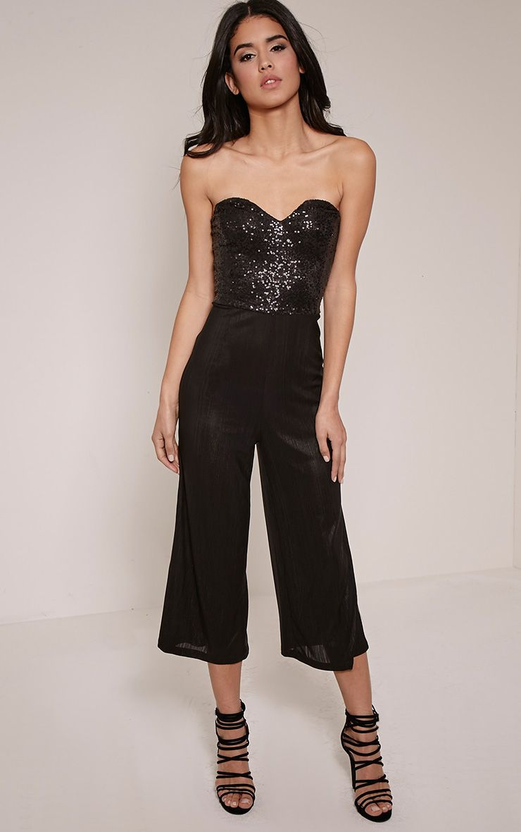 Hally Black Sequin Bandeau Jumpsuit 1