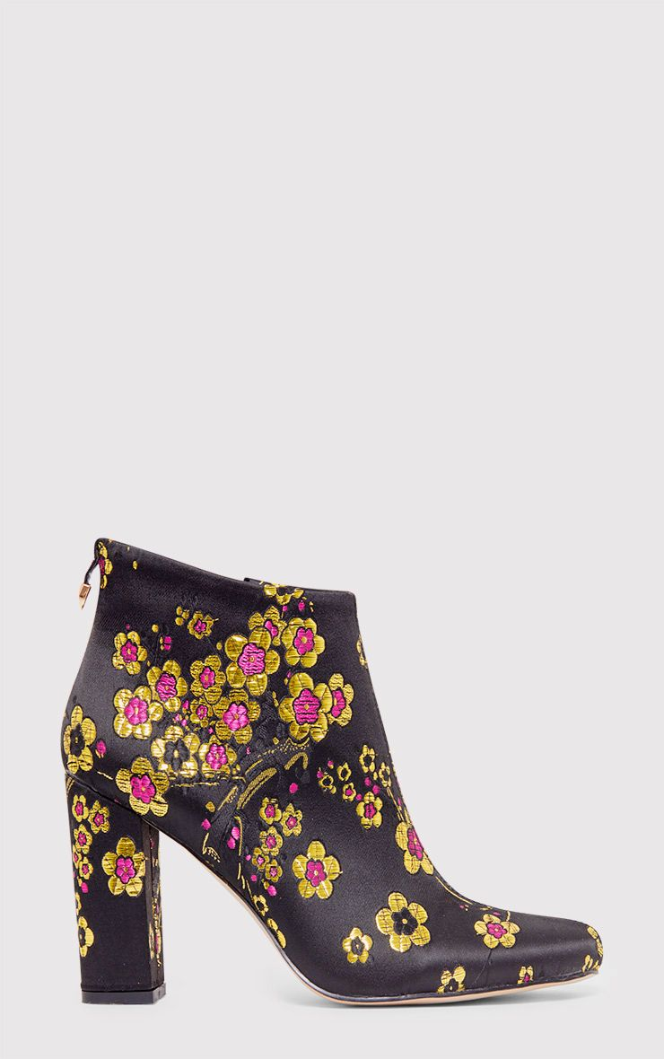 Mel Black Cherry Blossom Embroidered Ankle Boots