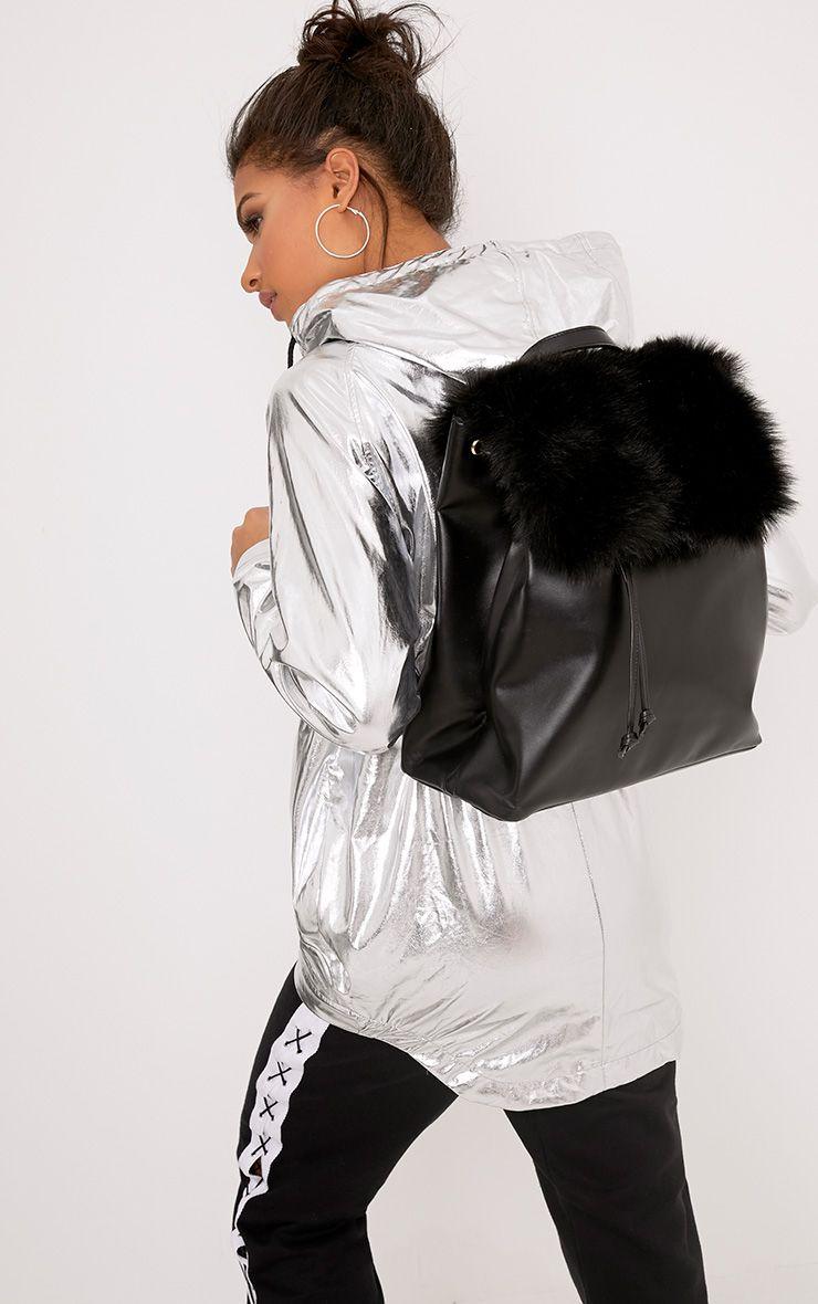 Balsa Black Fur Panel Backpack