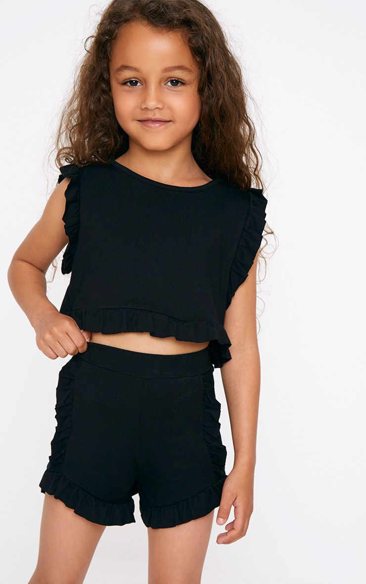 Black Ruffle Detail Shorts