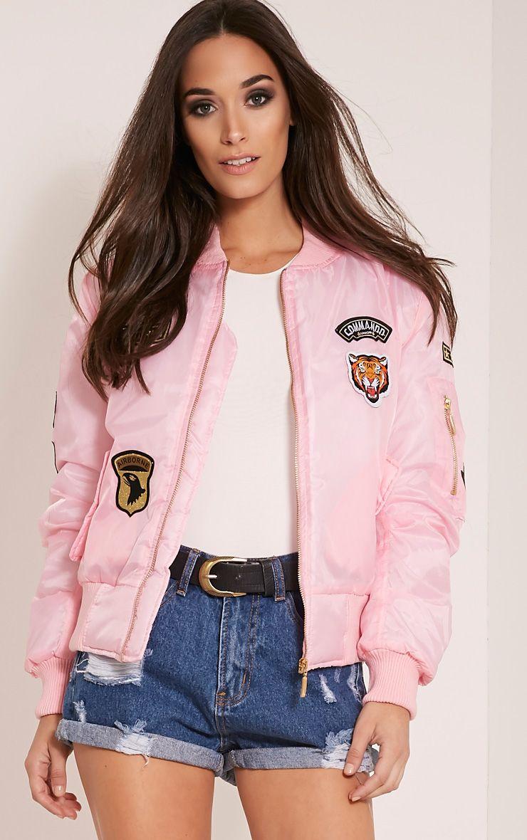 Joya Pink Utility Badge Bomber Jacket 1