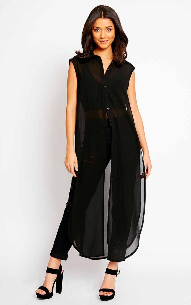 Cyndi Black Cut Out Shirt Dress 1