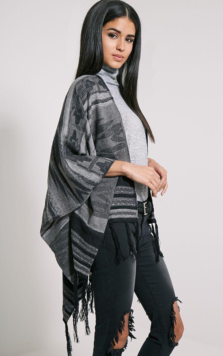Deni Grey Tribal Knitted Tassel Poncho 1