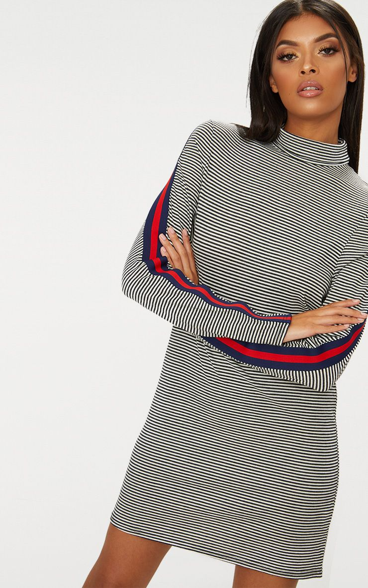 Striped Roll Neck Sports Stripe Shift Dress