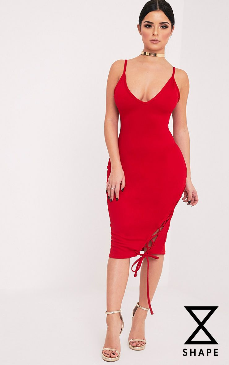 Shape Hollie Red Lace up Side Midi Dress