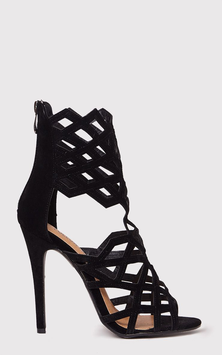 Derica Black Faux Suede Honeycomb Heels