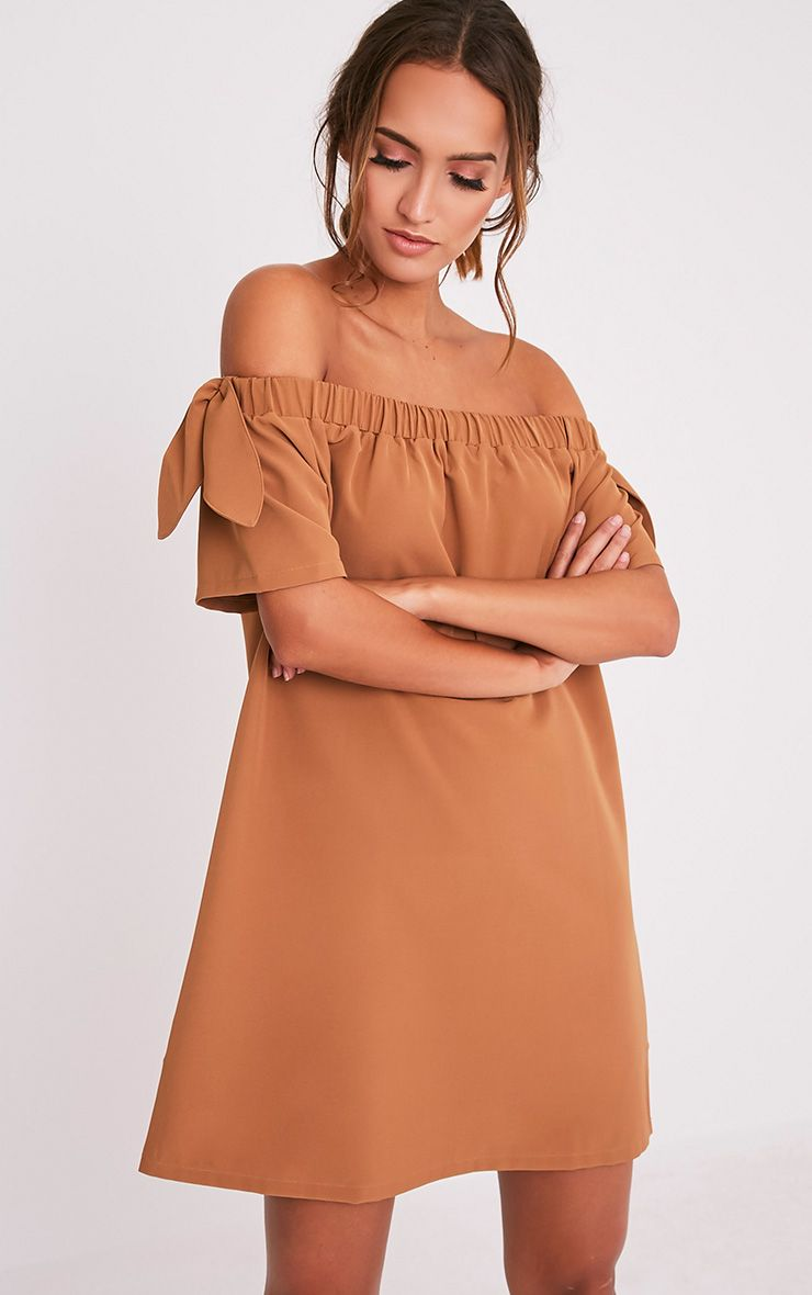 Cayla Camel Crepe Bardot Swing Dress