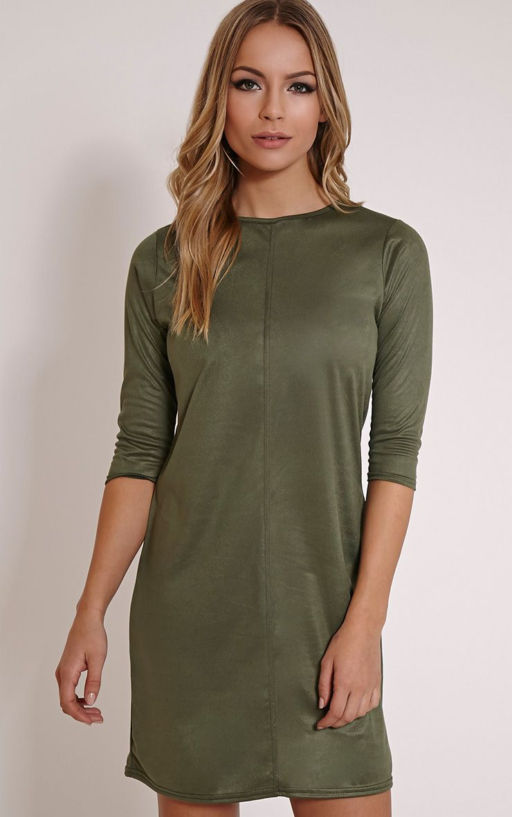 Kasie Khaki Faux Suede Stitch Detail Shift Dress 1