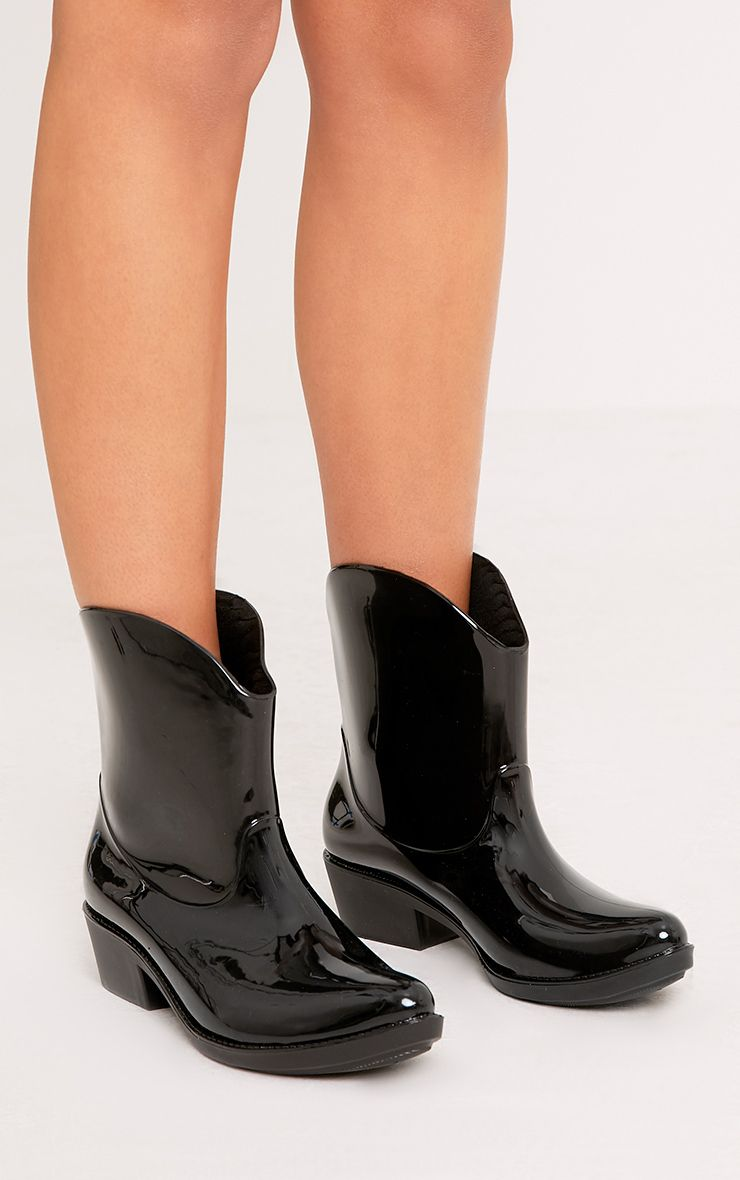 Kendrea Black Cowboy Rain Boots