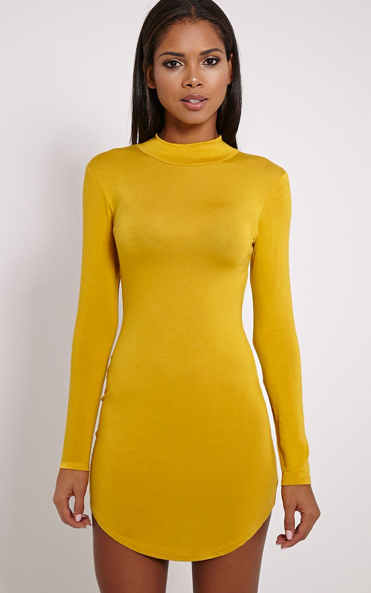 Alby Mustard Curve Hem High Neck Dress