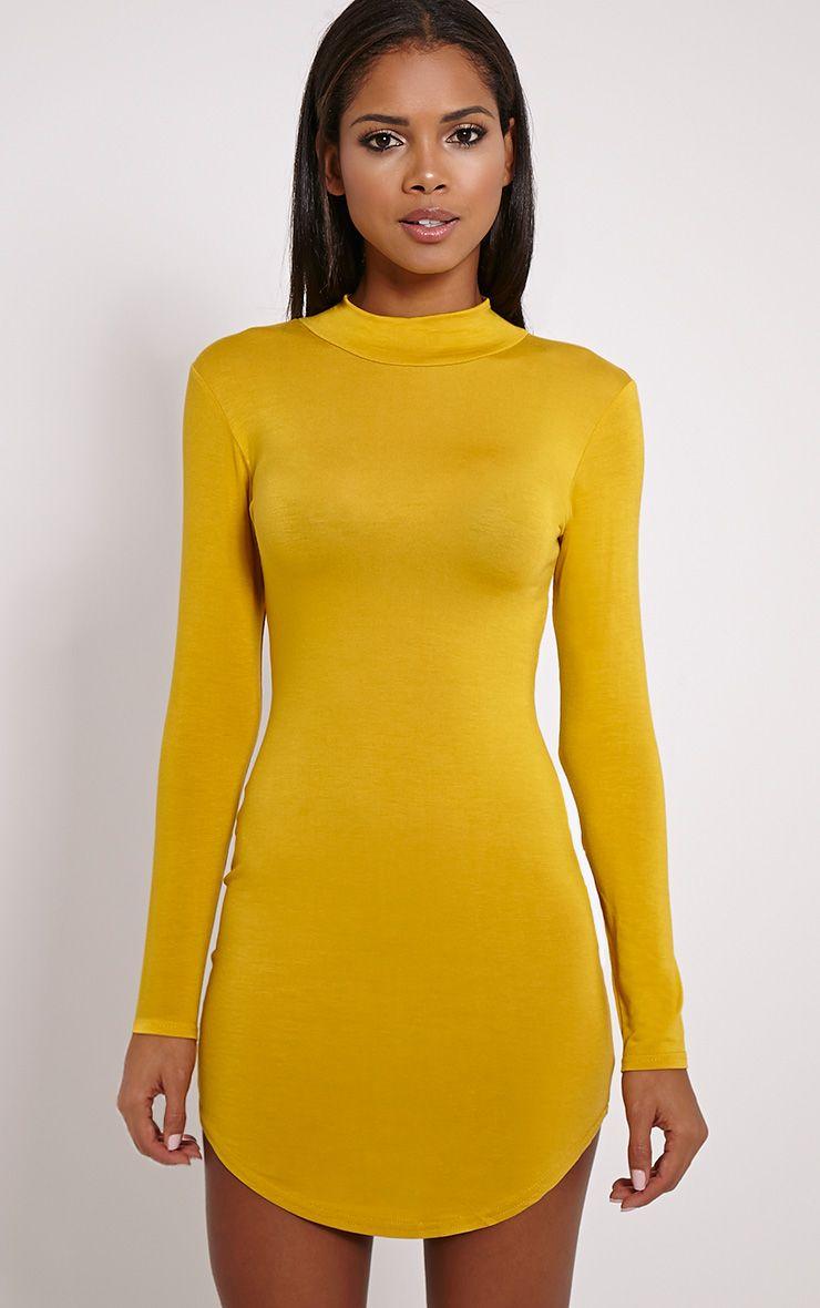 Alby Mustard Curve Hem High Neck Dress 1