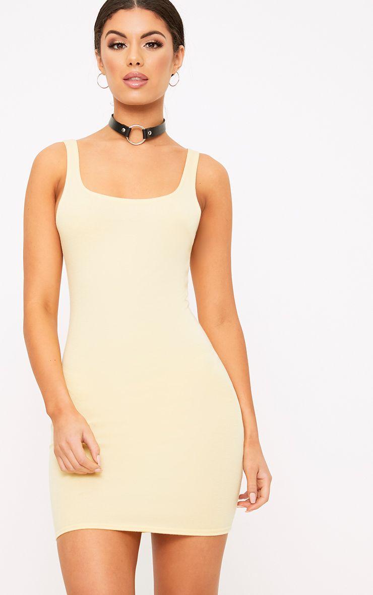 Carolin Lemon Scoop Neck Bodycon Dress