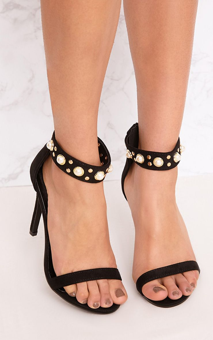 Black Pearl Strap Heels