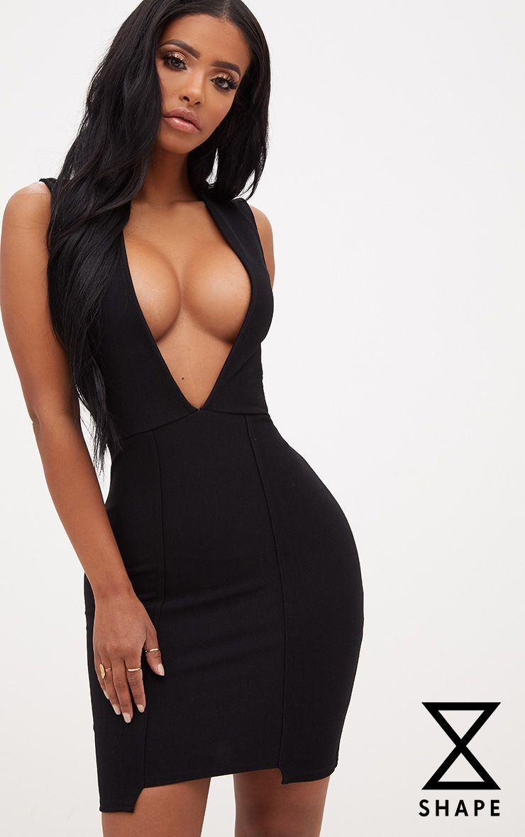 Shape Deena Black Plunge Hem Detail Bodycon Dress