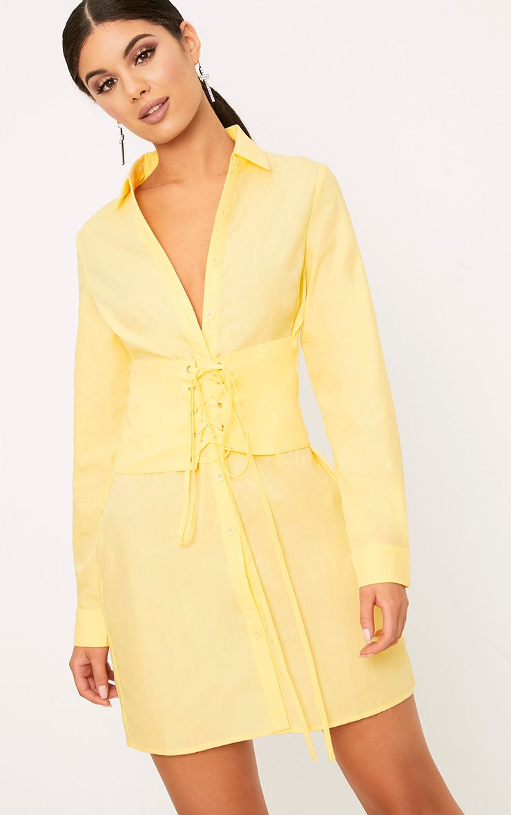 Willow Lemon Corset Lace Up Open Shirt Dress