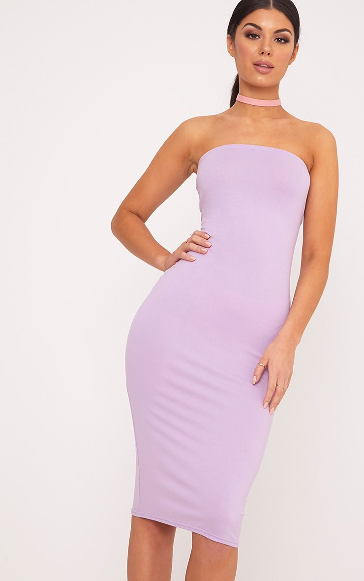 Basic Lilac Jersey Bandeau Midi Dress