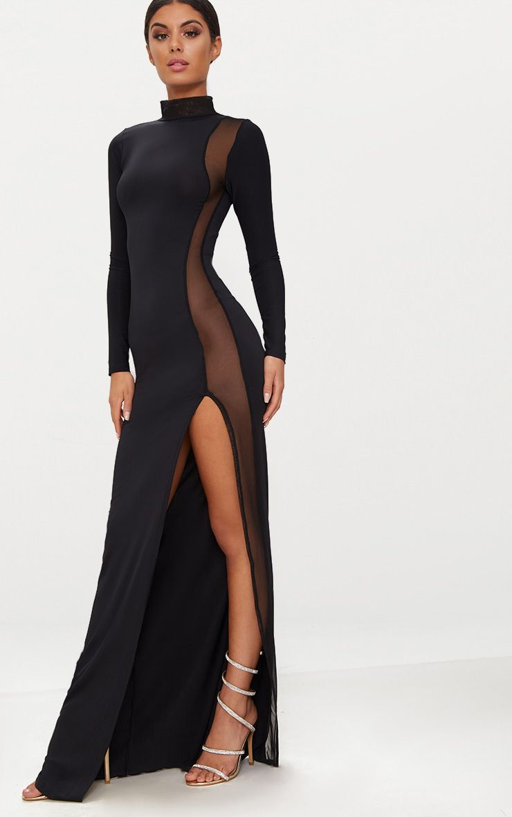 Black Mesh Panel High Neck Maxi Dress