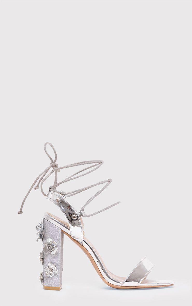 Evy Silver Embellished Block Heeled Sandals