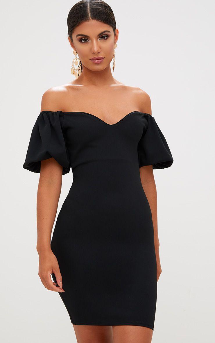 Robe moulante noire Bardot manches bouffantes