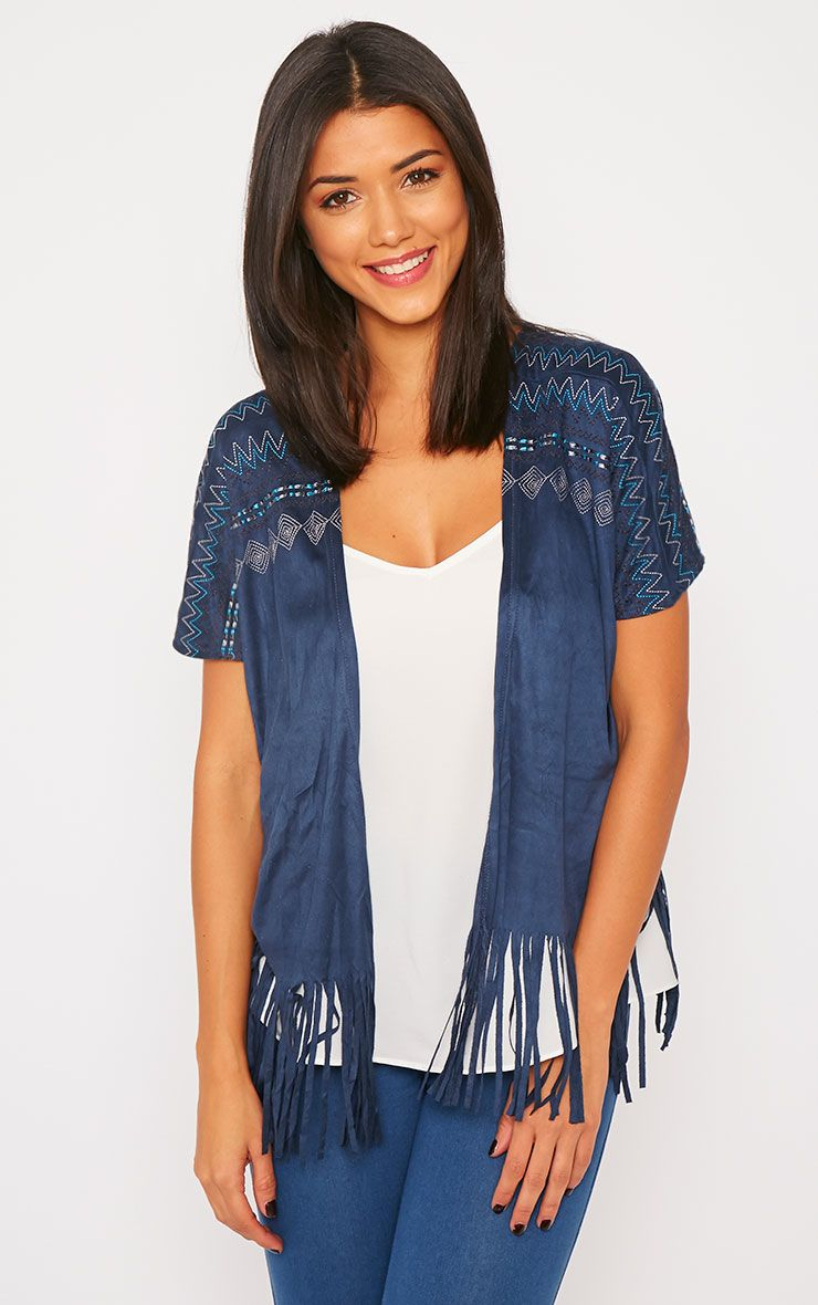 Lorna Navy Suede Embroidered Fringe Kimono 1