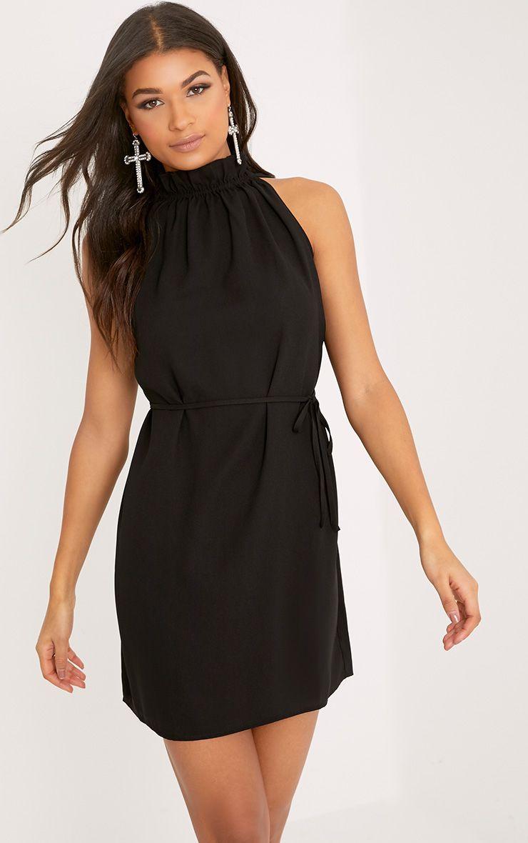 Liza Black Frill Neck Swing Dress