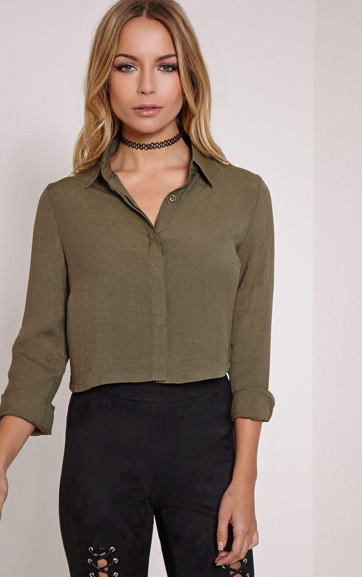 Nuria Khaki Crop Shirt 1