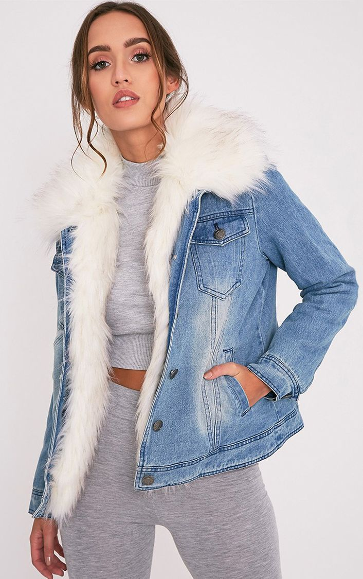 Yalena Denim Faux Fur Lined Jacket Coats Amp Jackets