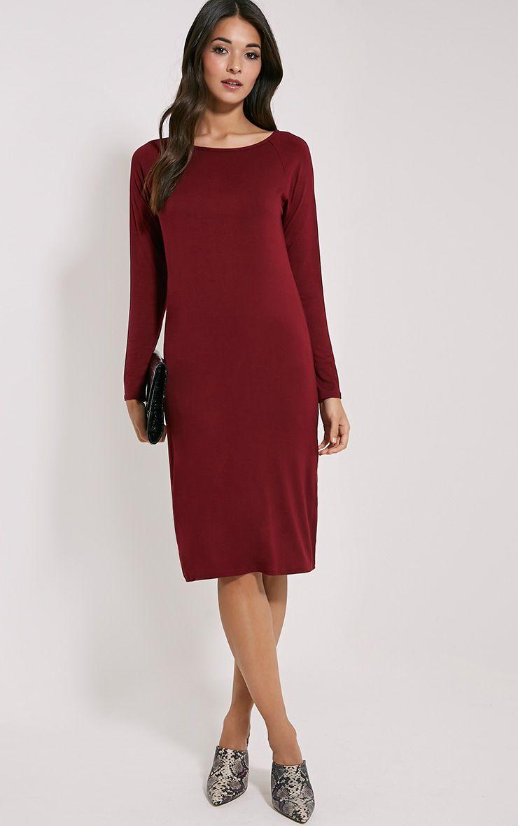 Jean Burgundy Long Sleeve Jersey Midi Dress 1