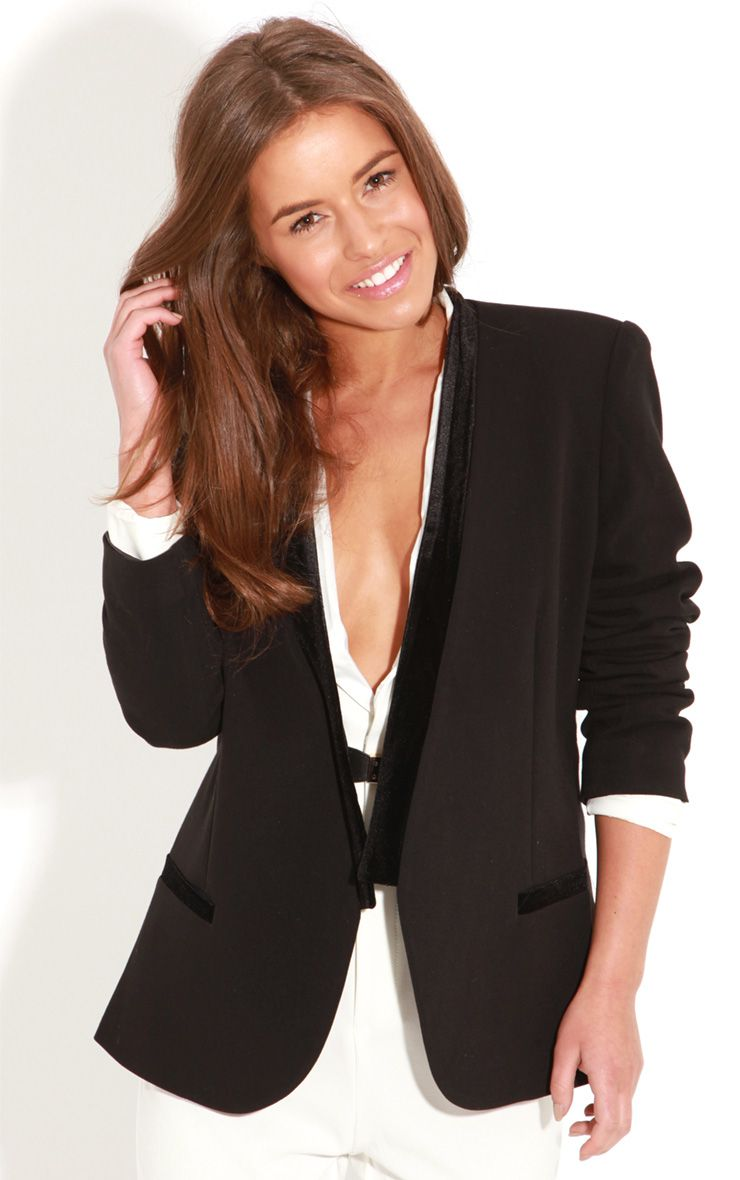 Jazzie Black Blazer With Black Velvet Trim 1