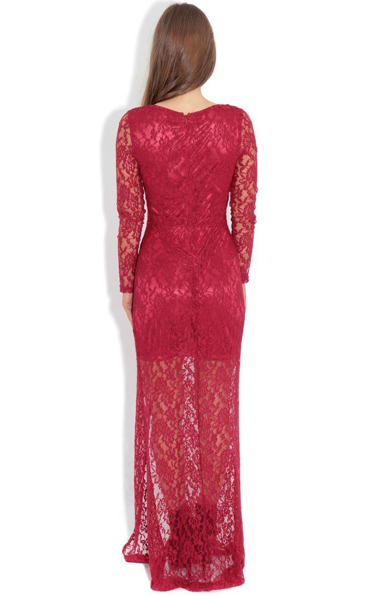 Ivana Red Lace Slit Dress Dresses Prettylittlething