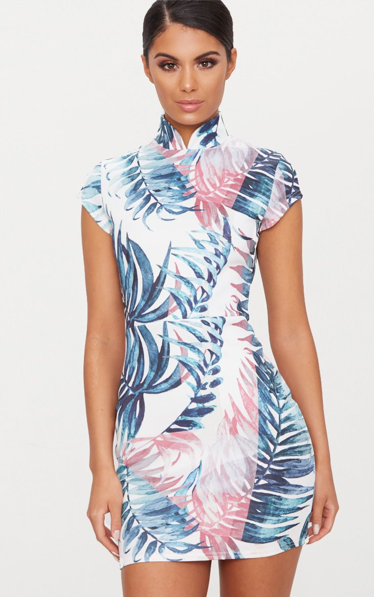 White Palm Print Oriental Bodycon Dress
