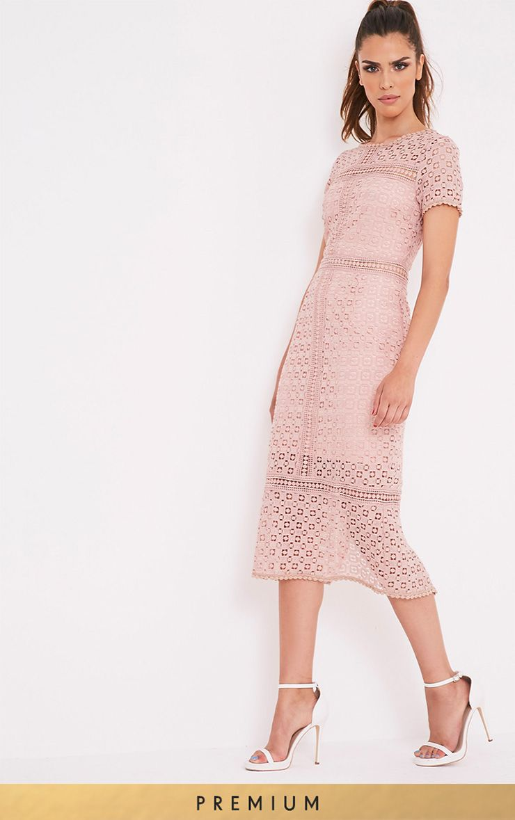 Midira Dusty Pink Crochet Lace Midi Dress