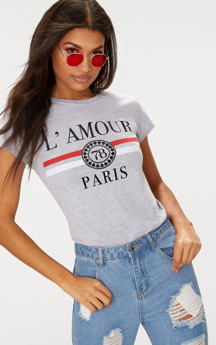 Grey Lamour Slogan Foil Print Fitted T Shirt