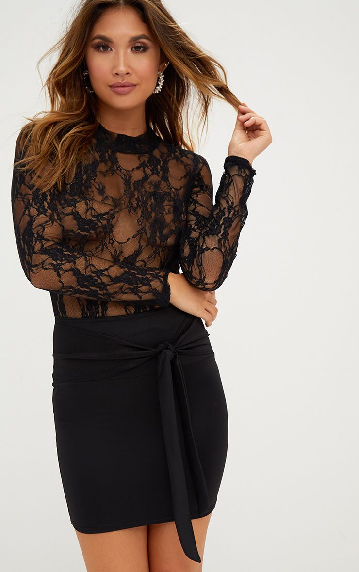 Black Tie High Waisted Mini Skirt